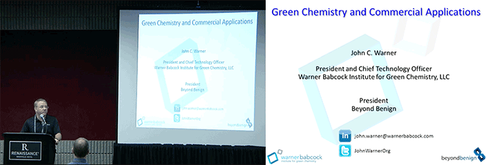 Dr. John Warner presents on the development of Green Chemistry science at the AASHTO TSP2 national conference in Nashville