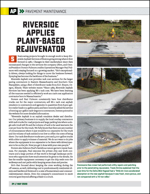 Asphalt Paving Magazine PreservationPro Supplement May2020 Riverside Chooses Delta-Mist