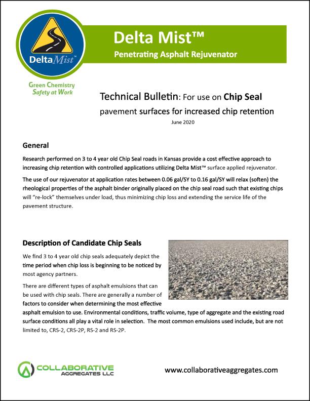 Delta Mist Technical Bulletin for Chip Seal Retention June 2020