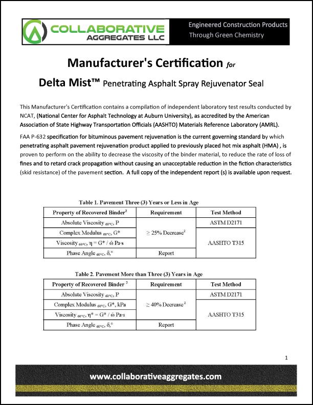 Manufacturers Certification Delta Mist ver 4.2