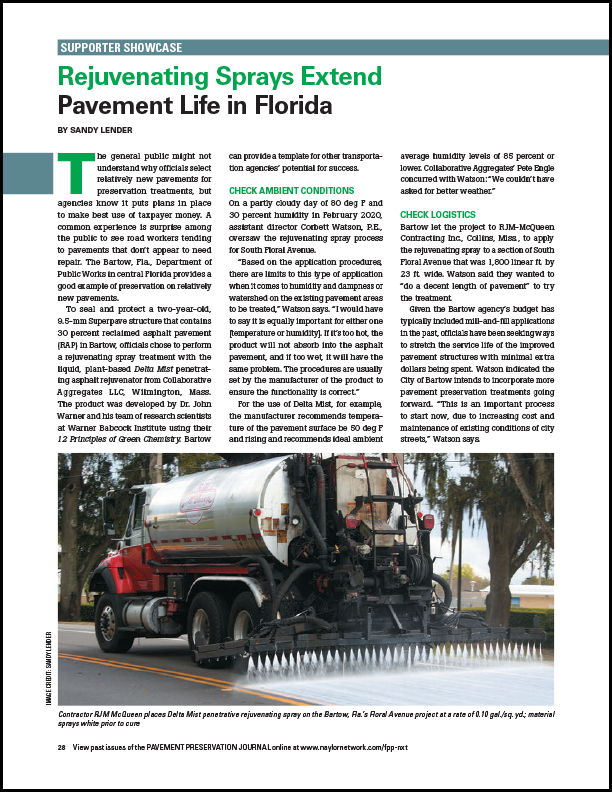 Pavement Preservation Journal Rejuvenating Sprays Extend Pavement Life in Florida