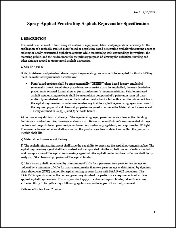 Standard Penetrating Asphalt Spray Rejuvenator Specs Plant and Petroleum Based